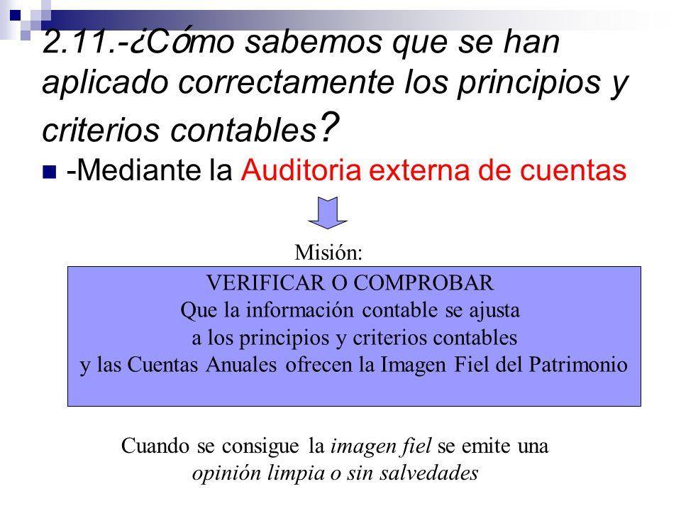 2.11.- ¿ C ó mo sabemos que se han aplicado correctamente los principios y criterios contables .