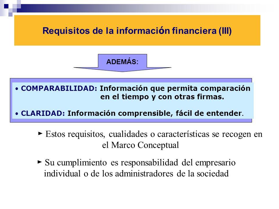 Requisitos de la informaci ó n financiera (III) ADEMÁS: COMPARABILIDAD: Información que permita comparación en el tiempo y con otras firmas.