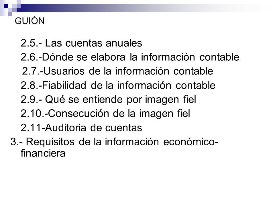 GUIÓN 2.5.- Las cuentas anuales 2.6.-Dónde se elabora la información contable 2.7.-Usuarios de la información contable 2.8.-Fiabilidad de la información contable 2.9.- Qué se entiende por imagen fiel 2.10.-Consecución de la imagen fiel 2.11-Auditoria de cuentas 3.- Requisitos de la información económico- financiera