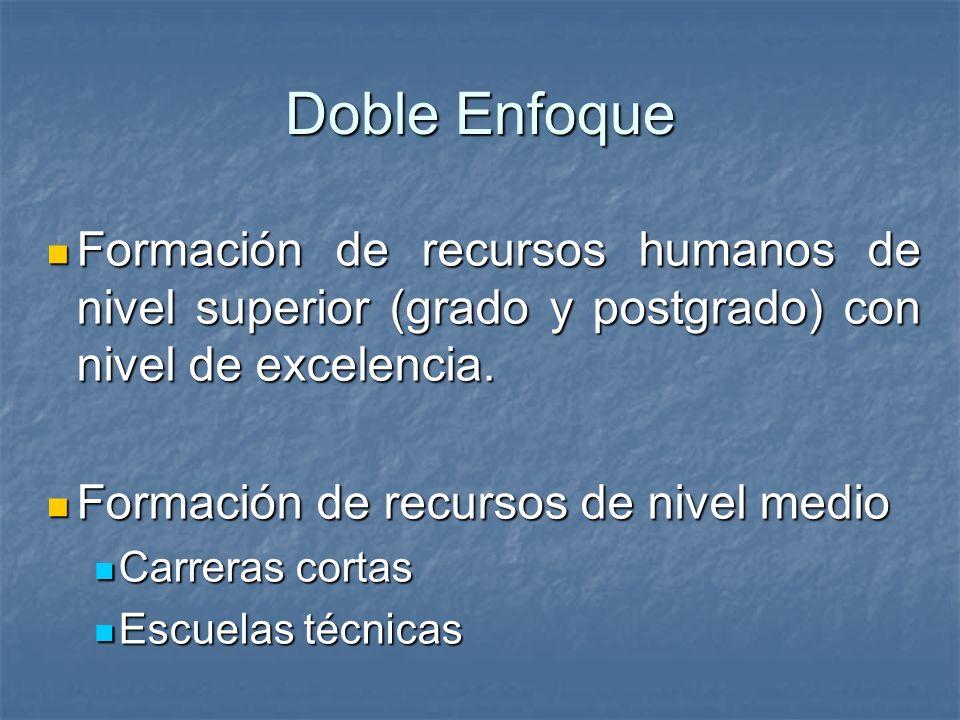 Formación de recursos humanos de nivel superior (grado y postgrado) con nivel de excelencia. Formación de recursos humanos de nivel superior (grado y