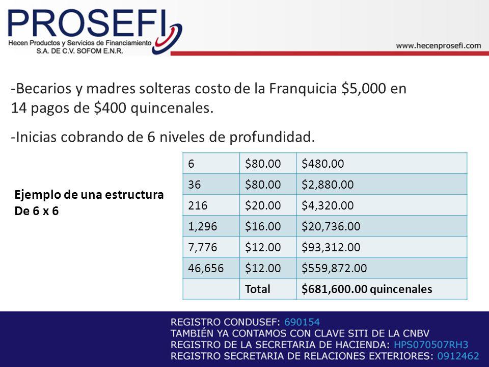 -Becarios y madres solteras costo de la Franquicia $5,000 en 14 pagos de $400 quincenales.