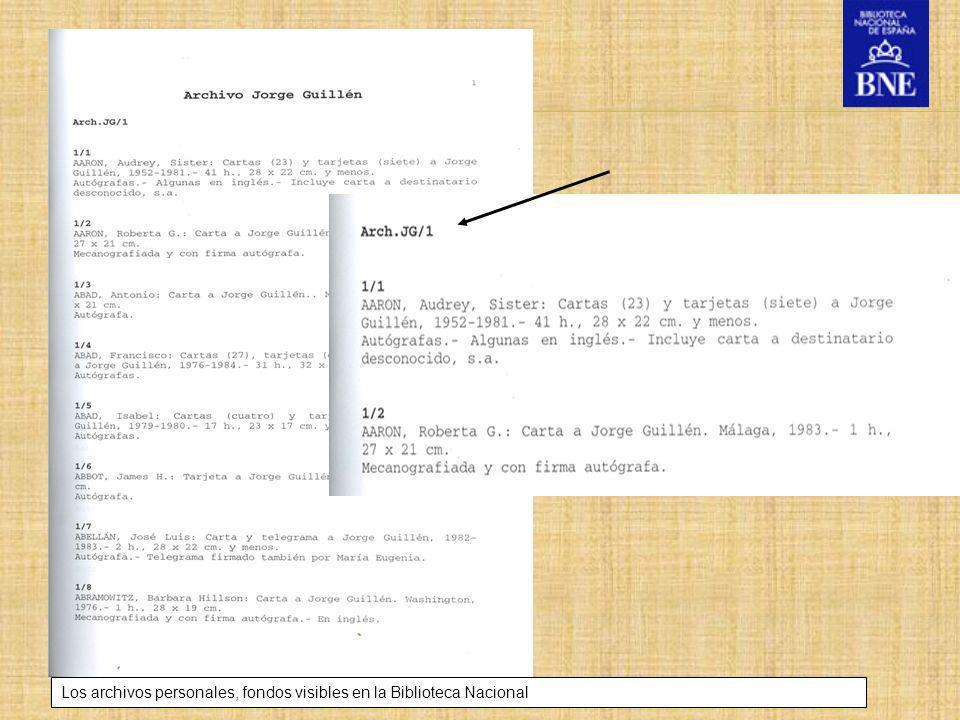 Título de la presentación Los archivos personales, fondos visibles en la Biblioteca Nacional