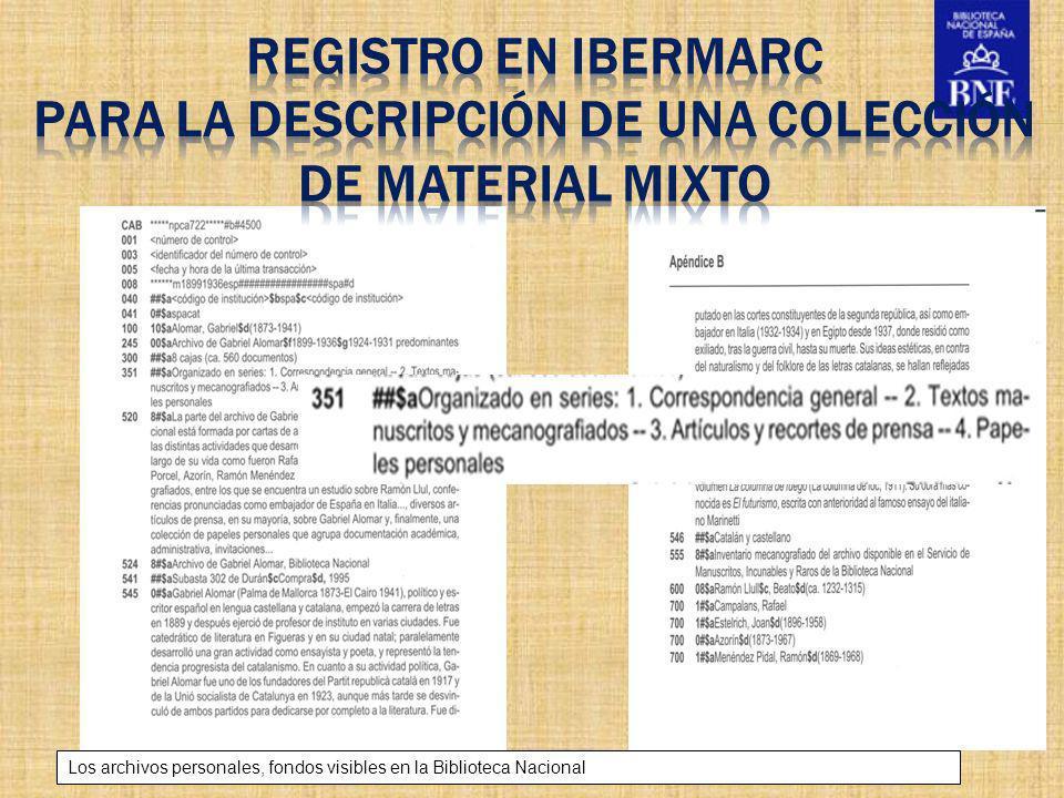 Título de la presentación Los archivos personales, fondos visibles en la Biblioteca Nacional Cuadro de clasificación del archivo personal de Corpus Barga