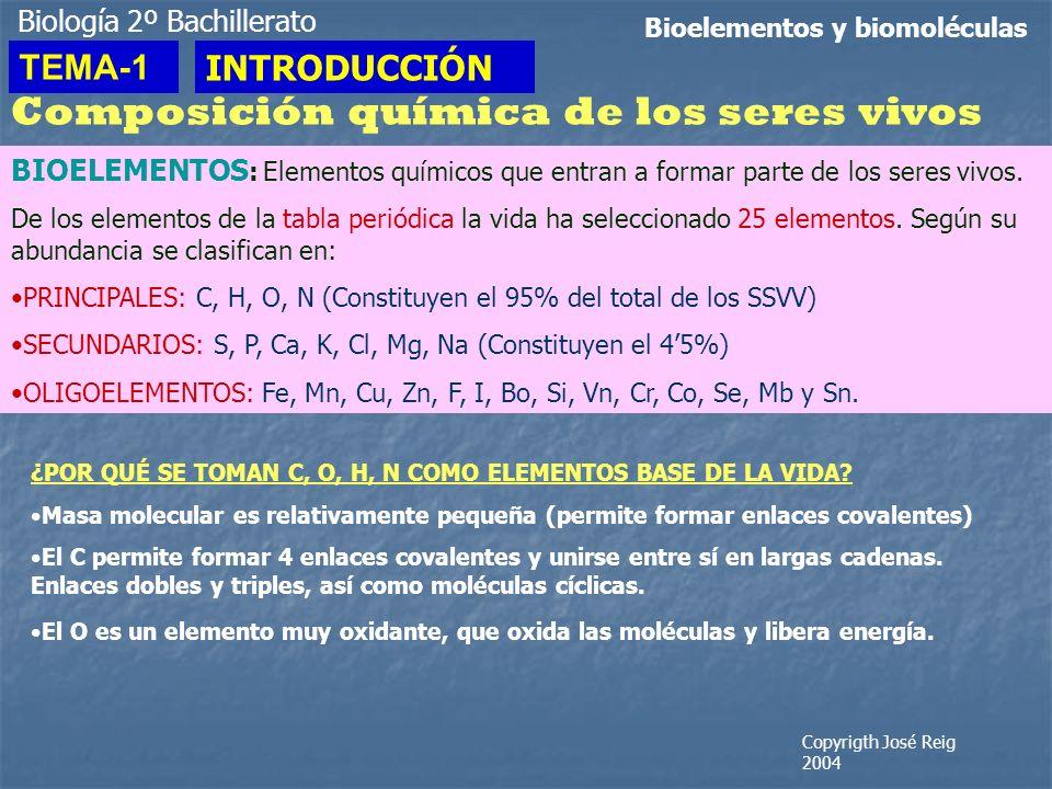 Biología 2º Bachillerato Bioelementos y biomoléculas Composición química de los seres vivos BIOELEMENTOS : Elementos químicos que entran a formar part