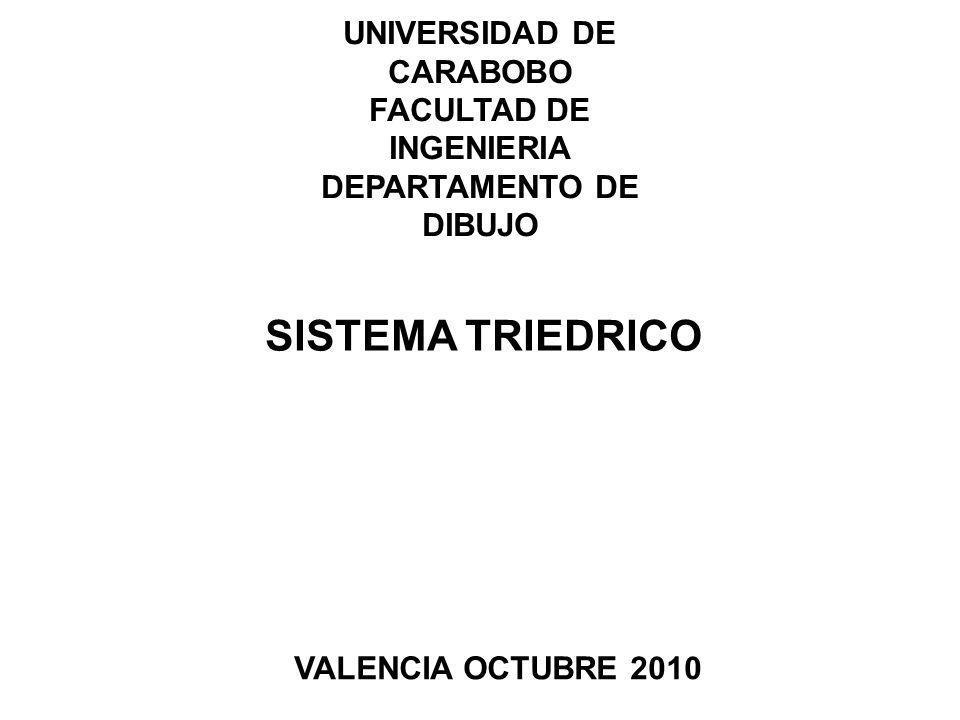 UNIVERSIDAD DE CARABOBO FACULTAD DE INGENIERIA DEPARTAMENTO DE DIBUJO SISTEMA TRIEDRICO VALENCIA OCTUBRE 2010