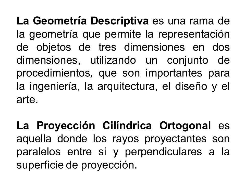La Geometría Descriptiva es una rama de la geometría que permite la representación de objetos de tres dimensiones en dos dimensiones, utilizando un co