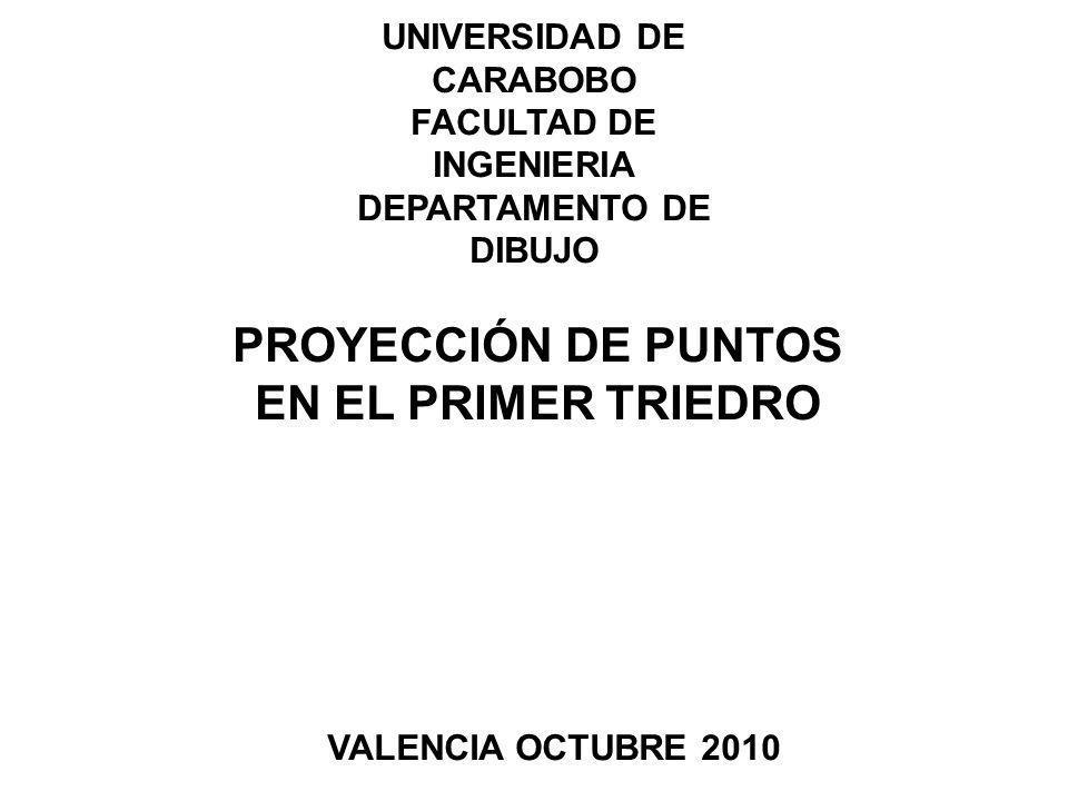 UNIVERSIDAD DE CARABOBO FACULTAD DE INGENIERIA DEPARTAMENTO DE DIBUJO PROYECCIÓN DE PUNTOS EN EL PRIMER TRIEDRO VALENCIA OCTUBRE 2010