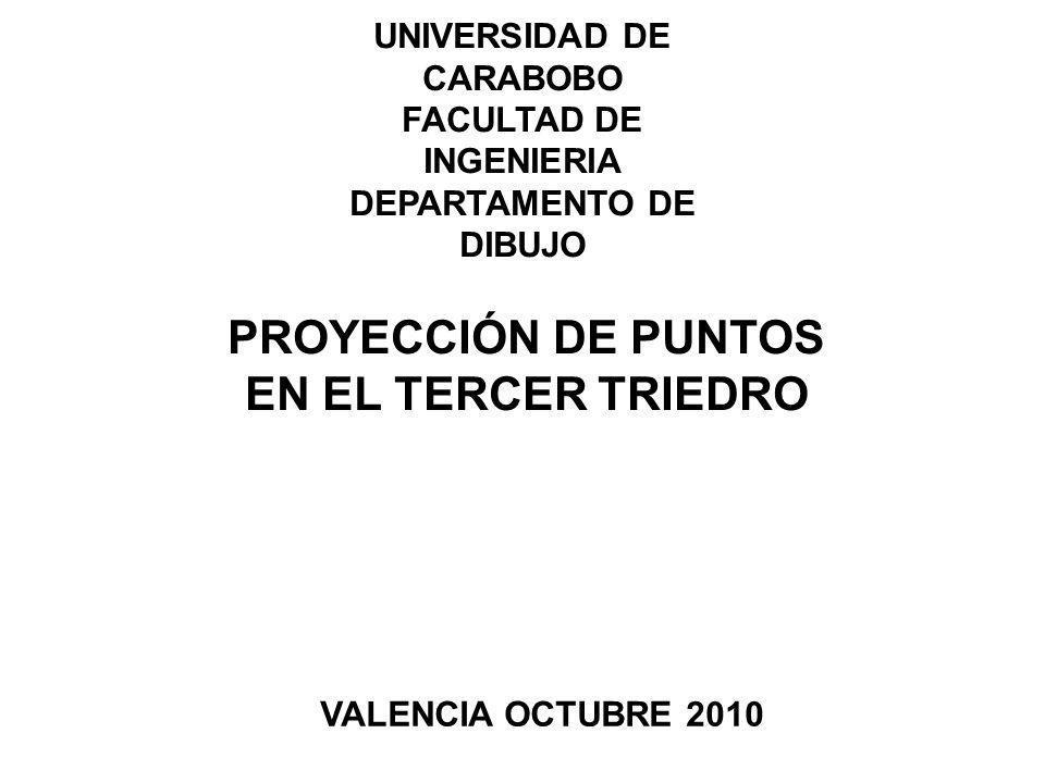 UNIVERSIDAD DE CARABOBO FACULTAD DE INGENIERIA DEPARTAMENTO DE DIBUJO PROYECCIÓN DE PUNTOS EN EL TERCER TRIEDRO VALENCIA OCTUBRE 2010