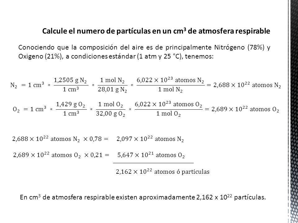 Conociendo que la composición del aire es de principalmente Nitrógeno (78%) y Oxigeno (21%), a condiciones estándar (1 atm y 25 °C), tenemos: En cm 3