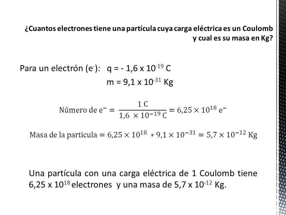 Para un electrón (e - ): q = - 1,6 x 10 -19 C m = 9,1 x 10 -31 Kg Una partícula con una carga eléctrica de 1 Coulomb tiene 6,25 x 10 18 electrones y u