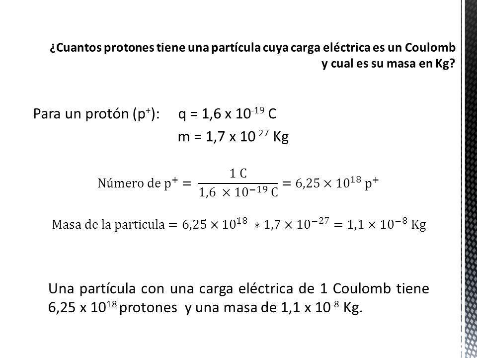 Para un protón (p + ): q = 1,6 x 10 -19 C m = 1,7 x 10 -27 Kg Una partícula con una carga eléctrica de 1 Coulomb tiene 6,25 x 10 18 protones y una mas