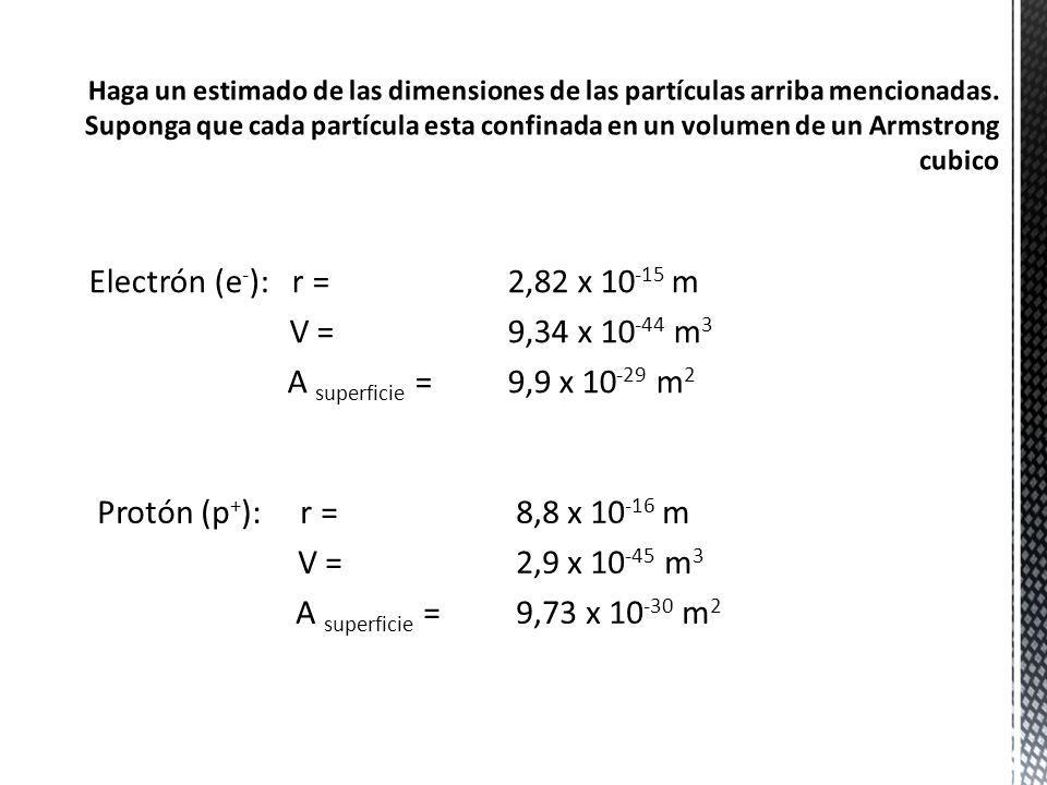Electrón (e - ): r = 2,82 x 10 -15 m V = 9,34 x 10 -44 m 3 A superficie = 9,9 x 10 -29 m 2 Protón (p + ): r = 8,8 x 10 -16 m V = 2,9 x 10 -45 m 3 A su