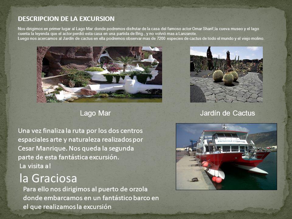 DESCRIPCION DE LA EXCURSION Una vez finaliza la ruta por los dos centros espaciales arte y naturaleza realizados por Cesar Manrique.