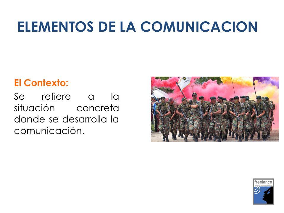 El Contexto: Se refiere a la situación concreta donde se desarrolla la comunicación. ELEMENTOS DE LA COMUNICACION