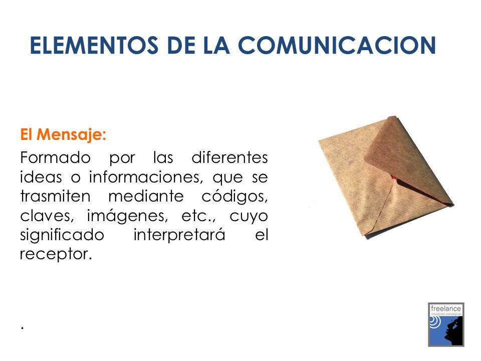 ELEMENTOS DE LA COMUNICACION El Mensaje: Formado por las diferentes ideas o informaciones, que se trasmiten mediante códigos, claves, imágenes, etc., cuyo significado interpretará el receptor..