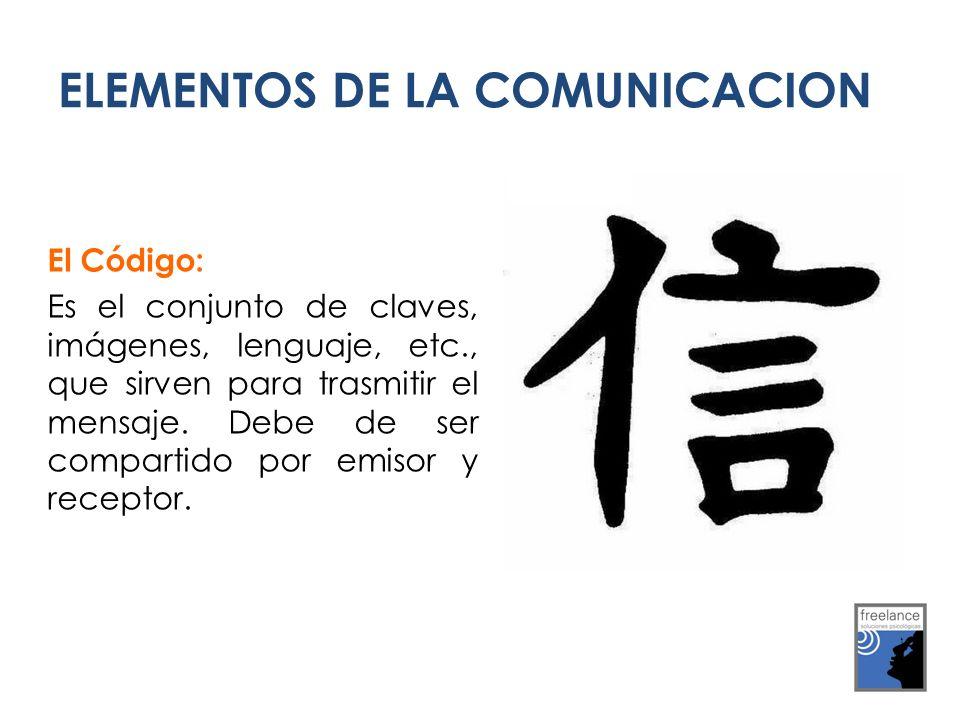 ELEMENTOS DE LA COMUNICACION El Código: Es el conjunto de claves, imágenes, lenguaje, etc., que sirven para trasmitir el mensaje. Debe de ser comparti