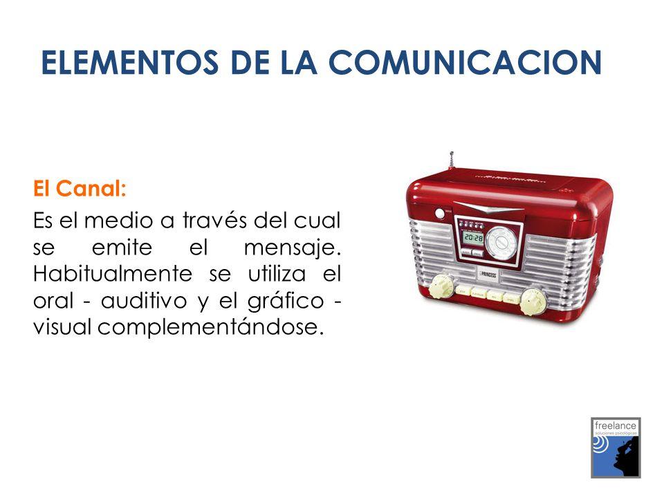 El Canal: Es el medio a través del cual se emite el mensaje. Habitualmente se utiliza el oral - auditivo y el gráfico - visual complementándose. ELEME