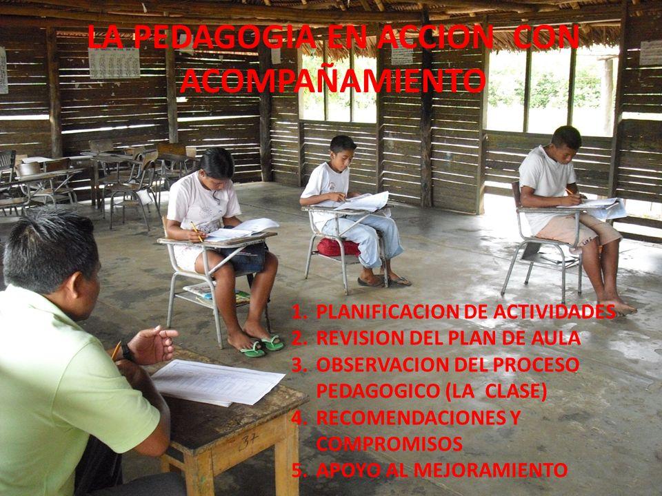 LA PEDAGOGIA EN ACCION CON ACOMPAÑAMIENTO 1.PLANIFICACION DE ACTIVIDADES 2.REVISION DEL PLAN DE AULA 3.OBSERVACION DEL PROCESO PEDAGOGICO (LA CLASE) 4.RECOMENDACIONES Y COMPROMISOS 5.APOYO AL MEJORAMIENTO