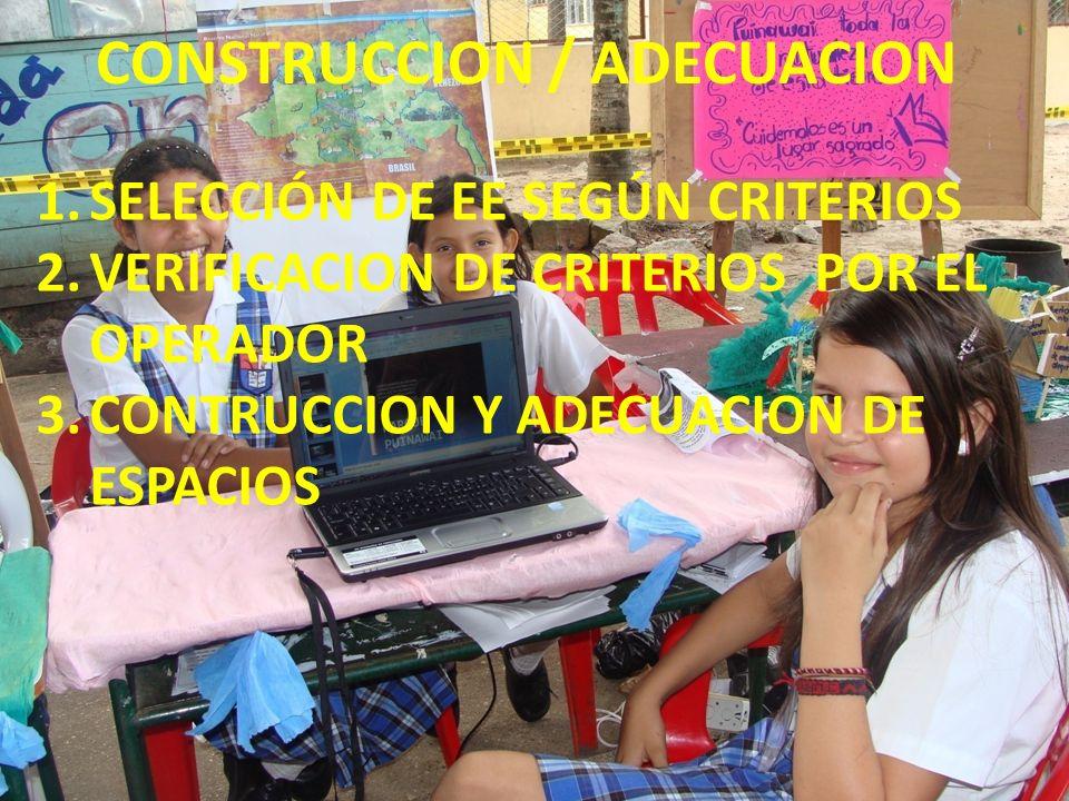 CONSTRUCCION / ADECUACION 1.SELECCIÓN DE EE SEGÚN CRITERIOS 2.VERIFICACION DE CRITERIOS POR EL OPERADOR 3.CONTRUCCION Y ADECUACION DE ESPACIOS