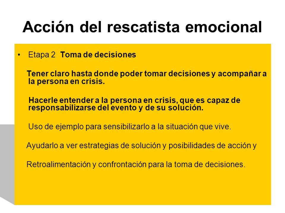 Acción del rescatista emocional Etapa 2 Toma de decisiones Tener claro hasta donde poder tomar decisiones y acompañar a la persona en crisis. Hacerle
