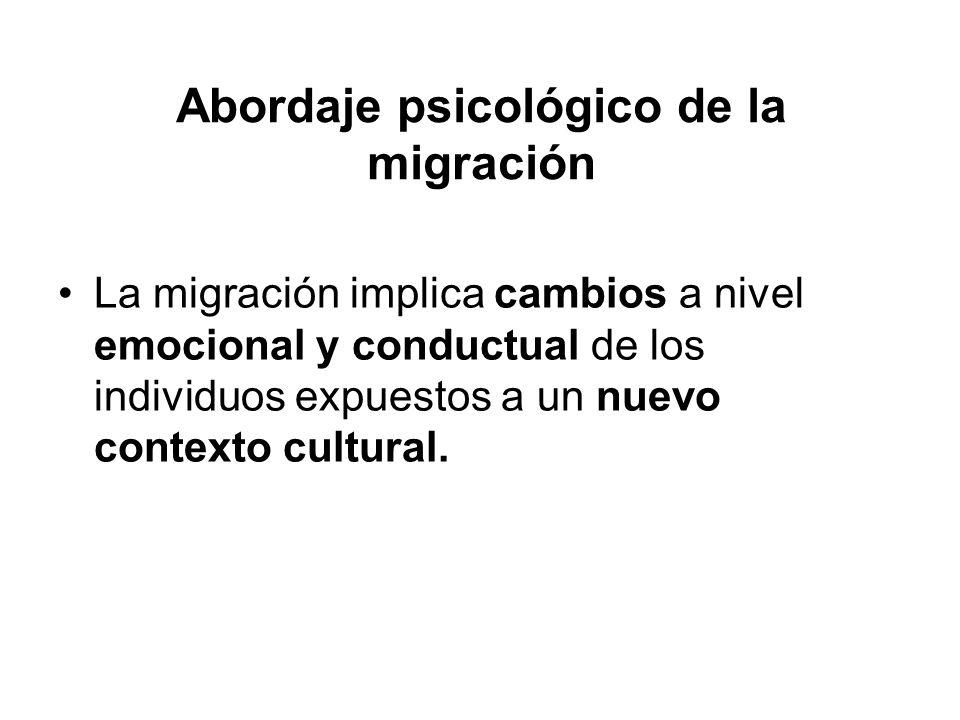 Abordaje psicológico de la migración La migración implica cambios a nivel emocional y conductual de los individuos expuestos a un nuevo contexto cultu