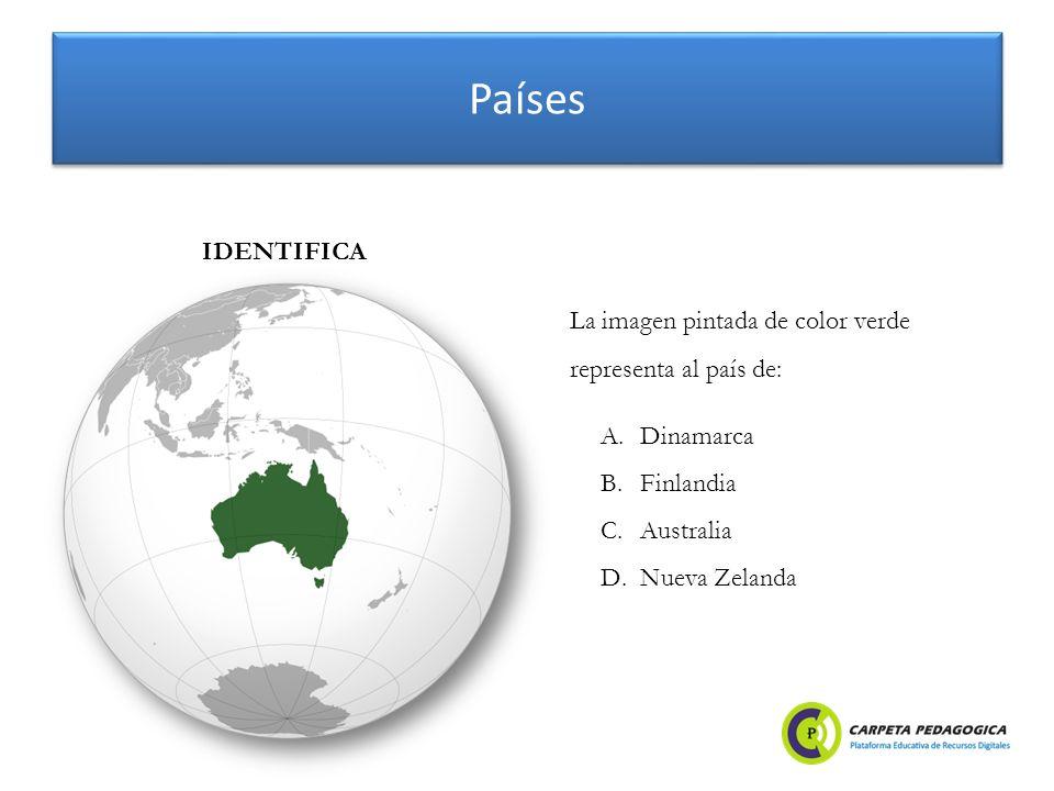 Países A.Dinamarca B.Finlandia C.Australia D.Nueva Zelanda IDENTIFICA La imagen pintada de color verde representa al país de: