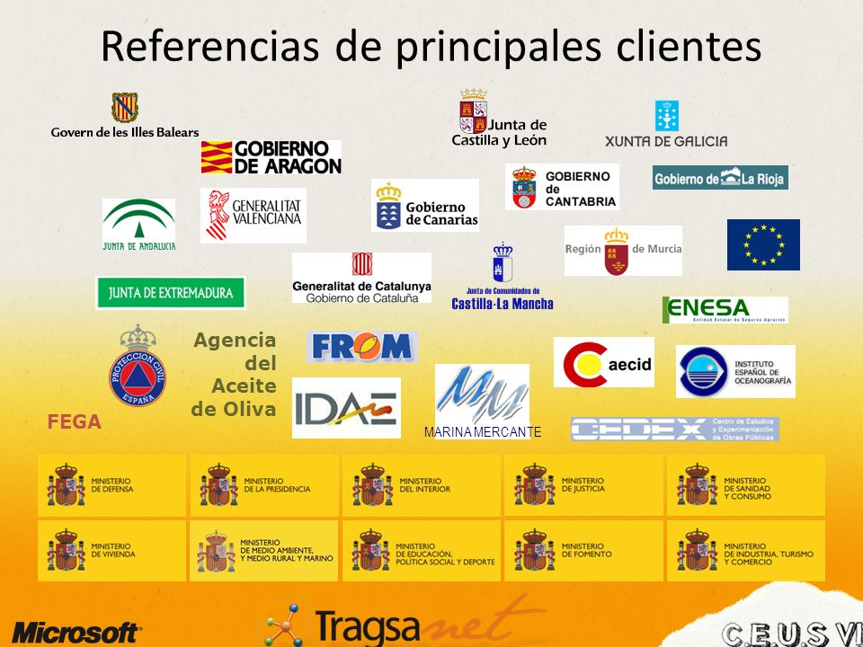 Referencias de principales clientes MARINA MERCANTE Agencia del Aceite de Oliva FEGA