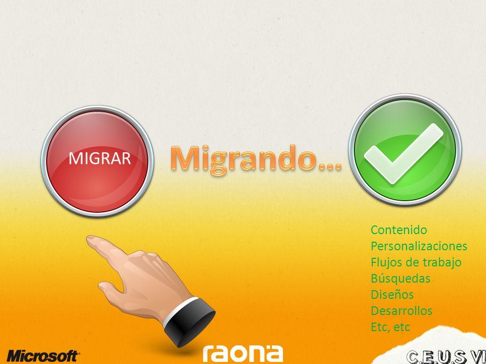 MIGRAR Contenido Personalizaciones Flujos de trabajo Búsquedas Diseños Desarrollos Etc, etc