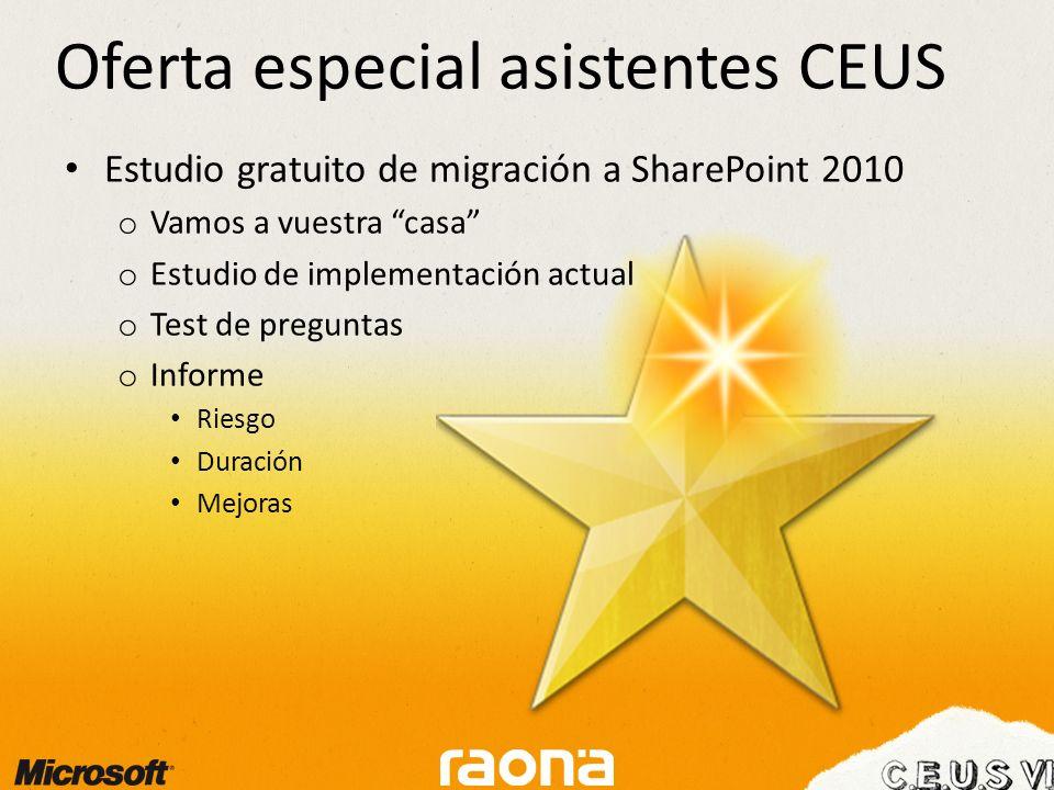 Estudio gratuito de migración a SharePoint 2010 o Vamos a vuestra casa o Estudio de implementación actual o Test de preguntas o Informe Riesgo Duración Mejoras Oferta especial asistentes CEUS