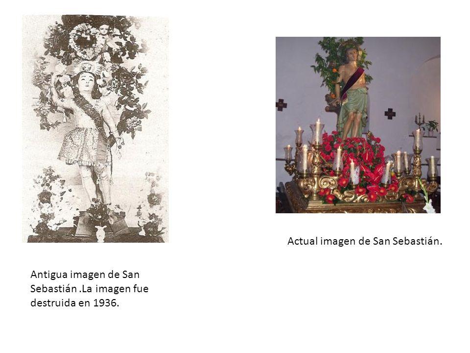 Antigua imagen de San Sebastián.La imagen fue destruida en 1936. Actual imagen de San Sebastián.