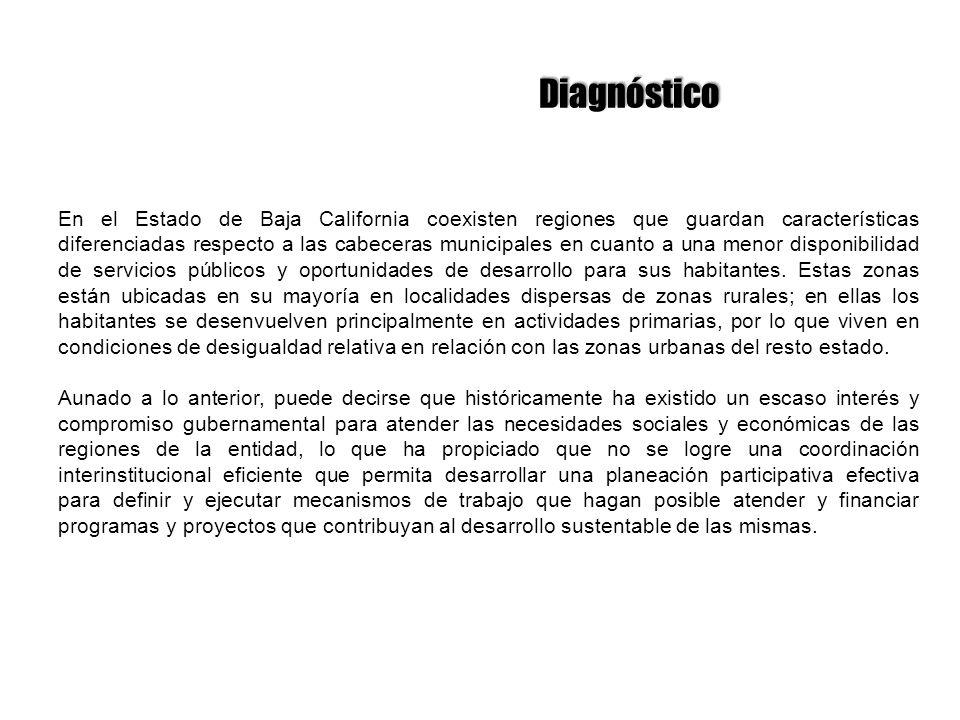 Diagnóstico En el Estado de Baja California coexisten regiones que guardan características diferenciadas respecto a las cabeceras municipales en cuant