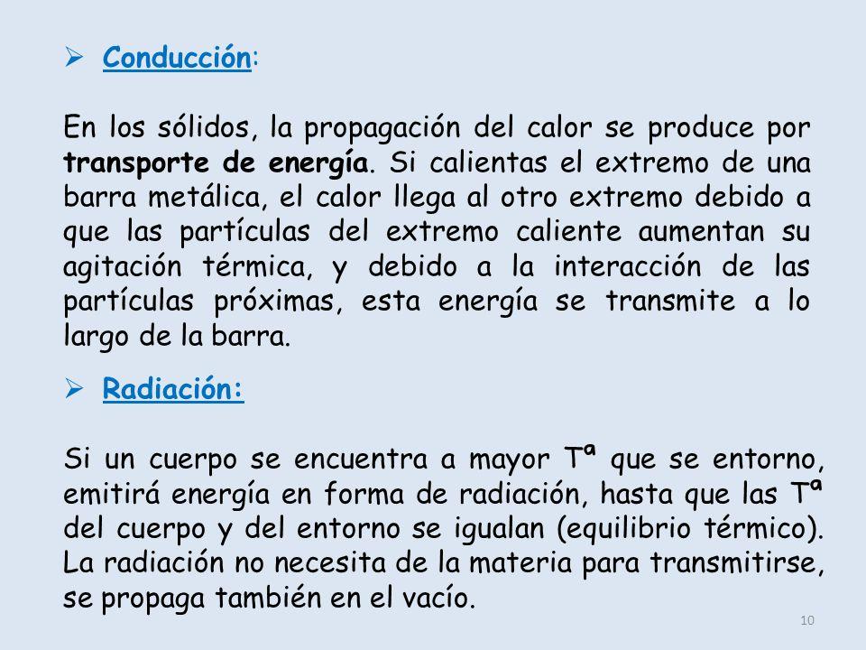 10 Conducción: En los sólidos, la propagación del calor se produce por transporte de energía. Si calientas el extremo de una barra metálica, el calor