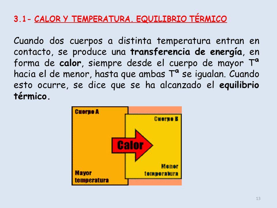 13 3.1- CALOR Y TEMPERATURA. EQUILIBRIO TÉRMICO Cuando dos cuerpos a distinta temperatura entran en contacto, se produce una transferencia de energía,
