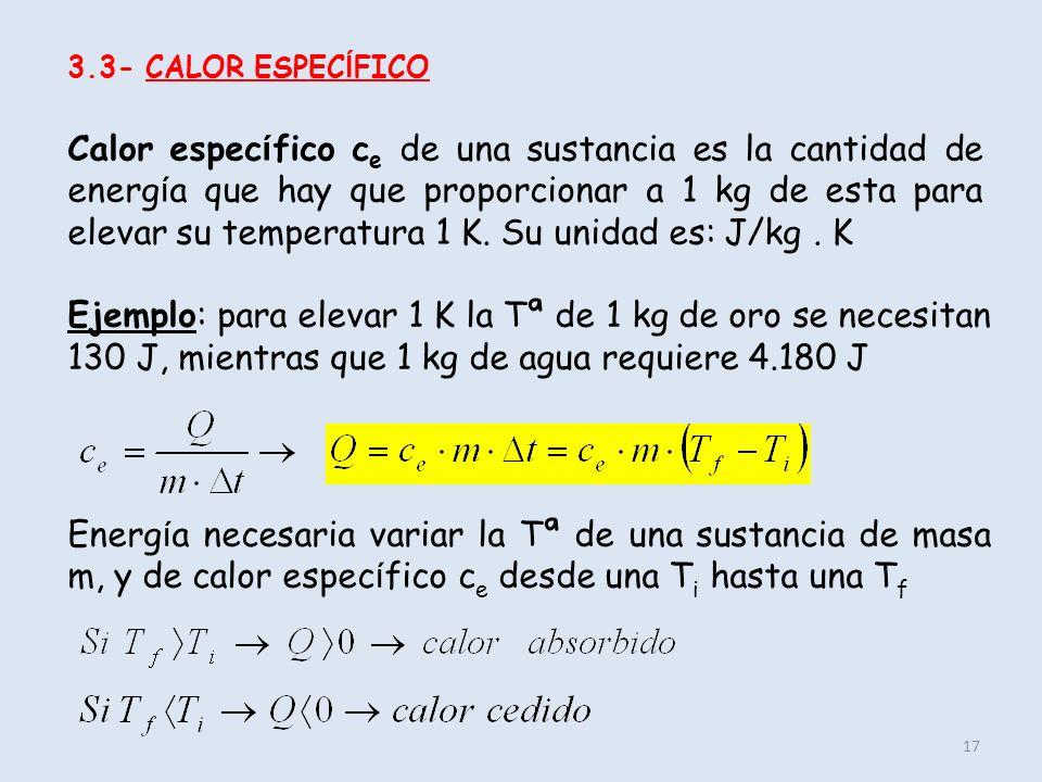 17 3.3- CALOR ESPEC Í FICO Calor espec í fico c e de una sustancia es la cantidad de energ í a que hay que proporcionar a 1 kg de esta para elevar su