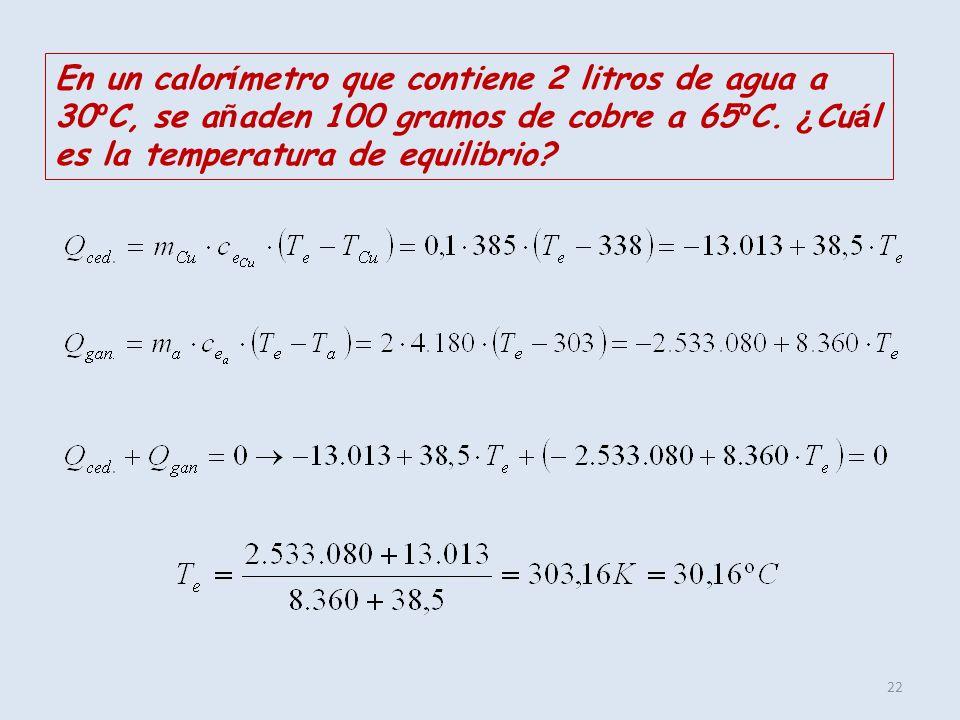 22 En un calor í metro que contiene 2 litros de agua a 30 º C, se a ñ aden 100 gramos de cobre a 65 º C. ¿ Cu á l es la temperatura de equilibrio?