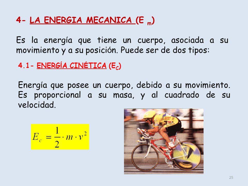 25 4- LA ENERGIA MECANICA (E m ) Es la energ í a que tiene un cuerpo, asociada a su movimiento y a su posici ó n. Puede ser de dos tipos: 4.1- ENERG Í