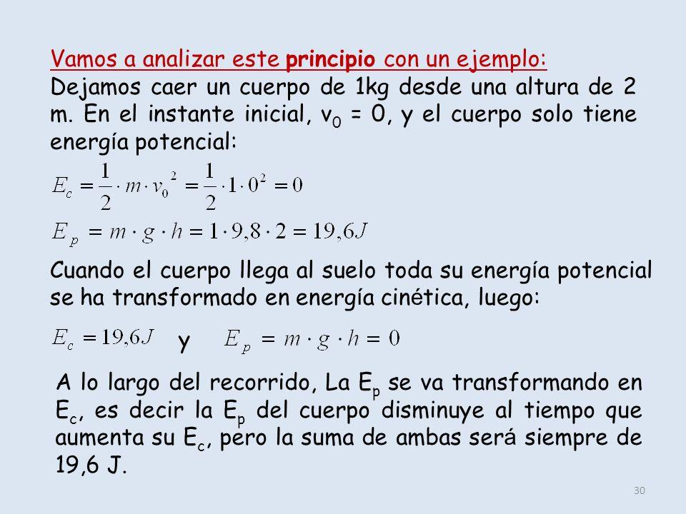 30 Vamos a analizar este principio con un ejemplo: Dejamos caer un cuerpo de 1kg desde una altura de 2 m. En el instante inicial, v 0 = 0, y el cuerpo