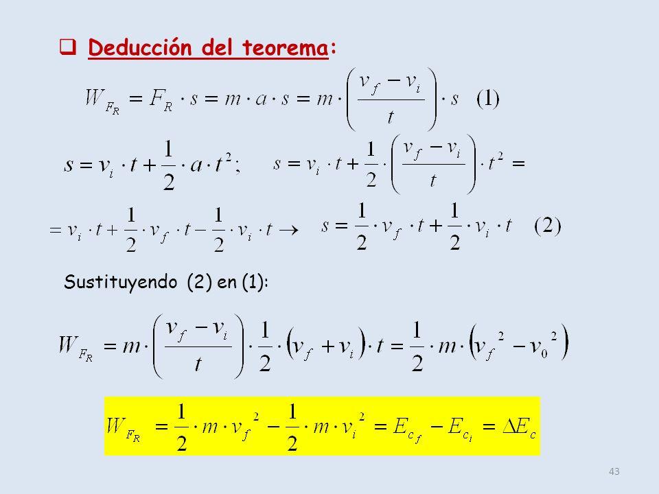 43 Deducción del teorema: Sustituyendo (2) en (1):