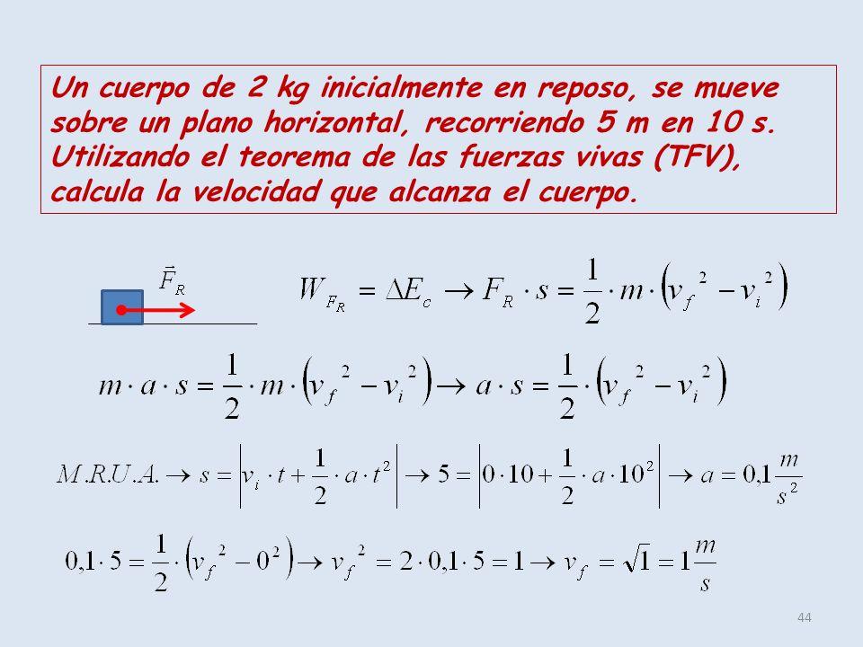 44 Un cuerpo de 2 kg inicialmente en reposo, se mueve sobre un plano horizontal, recorriendo 5 m en 10 s. Utilizando el teorema de las fuerzas vivas (