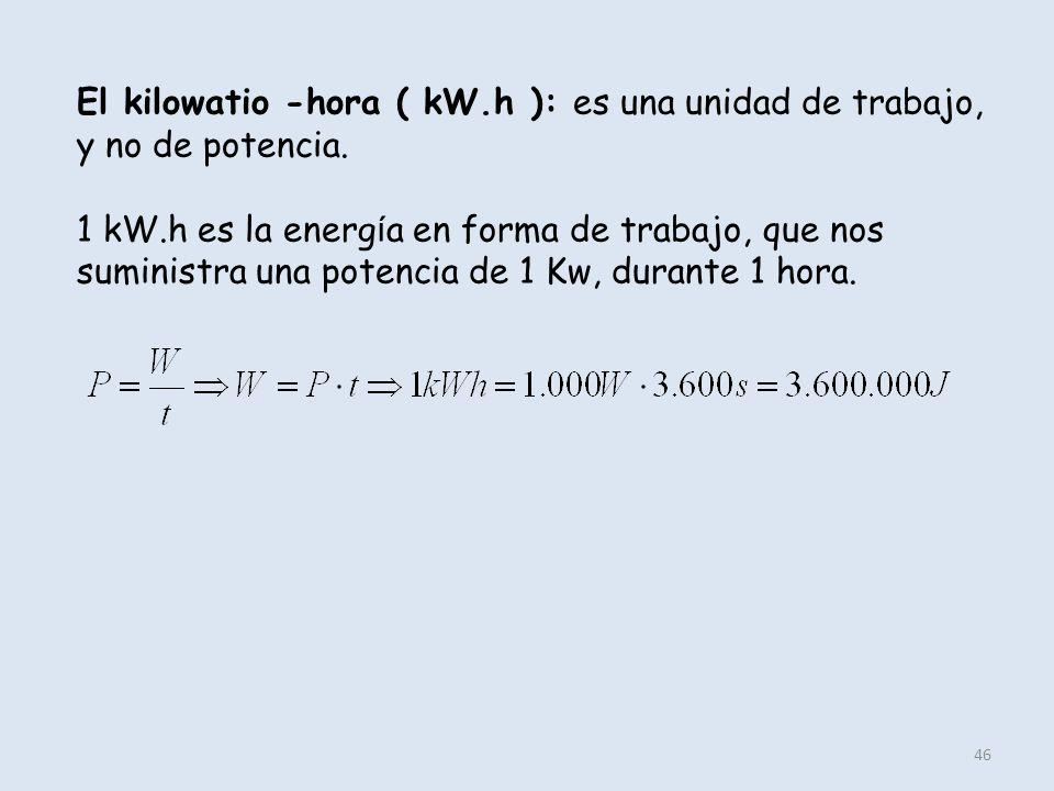 46 El kilowatio -hora ( kW.h ): es una unidad de trabajo, y no de potencia. 1 kW.h es la energ í a en forma de trabajo, que nos suministra una potenci