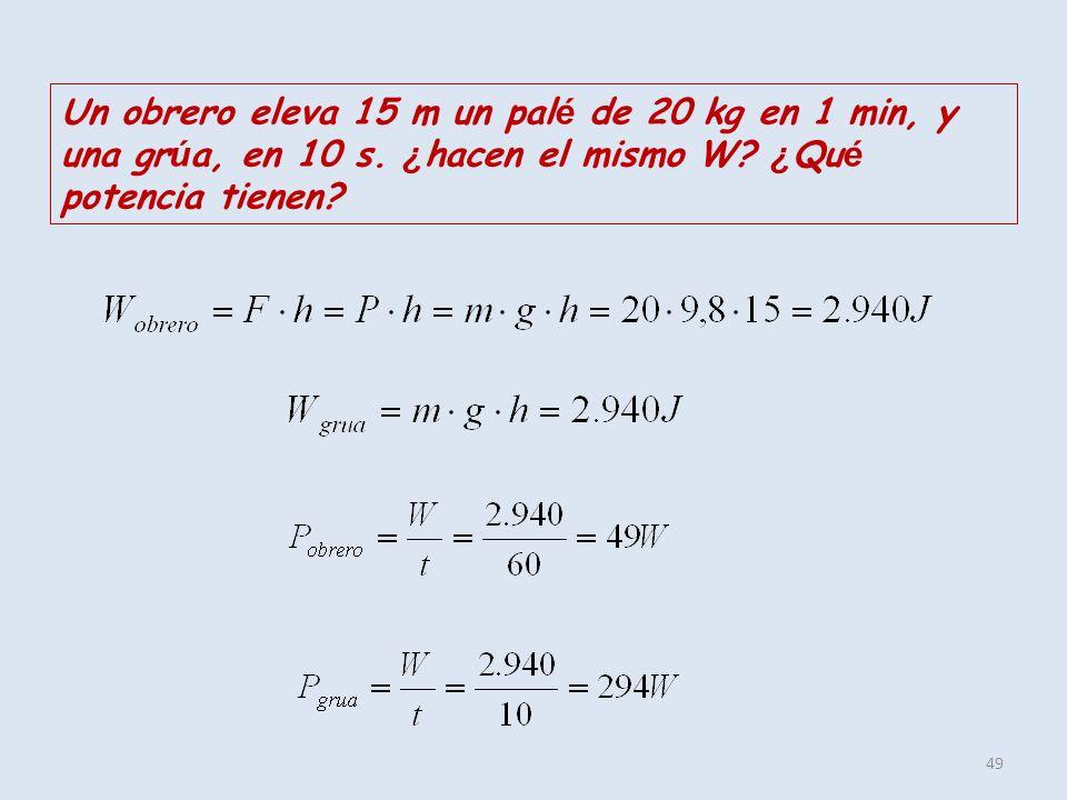 49 Un obrero eleva 15 m un pal é de 20 kg en 1 min, y una gr ú a, en 10 s. ¿ hacen el mismo W? ¿ Qu é potencia tienen?