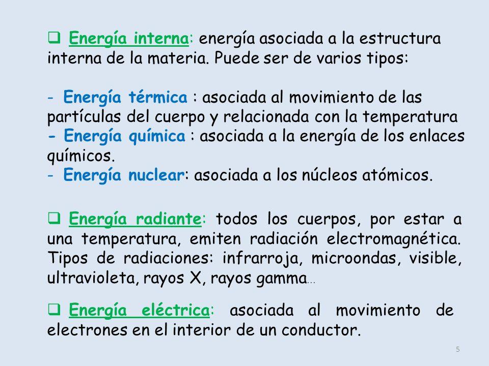 Energía interna: energía asociada a la estructura interna de la materia. Puede ser de varios tipos: - Energía térmica : asociada al movimiento de las