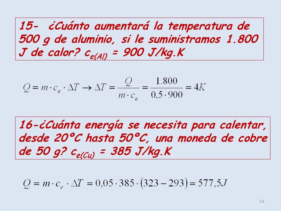 54 15- ¿Cuánto aumentará la temperatura de 500 g de aluminio, si le suministramos 1.800 J de calor? c e(Al) = 900 J/kg.K 16-¿Cuánta energía se necesit