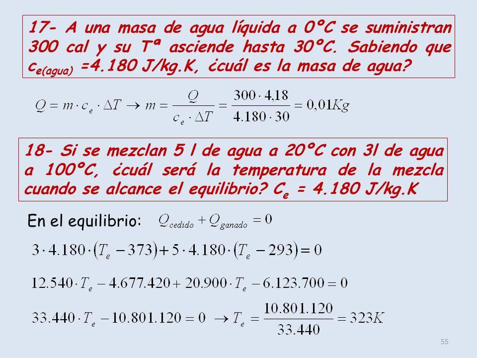 55 17- A una masa de agua líquida a 0ºC se suministran 300 cal y su Tª asciende hasta 30ºC. Sabiendo que c e(agua) =4.180 J/kg.K, ¿cuál es la masa de