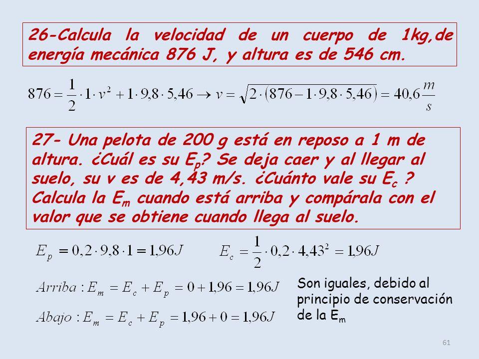 61 26-Calcula la velocidad de un cuerpo de 1kg,de energía mecánica 876 J, y altura es de 546 cm. 27- Una pelota de 200 g está en reposo a 1 m de altur