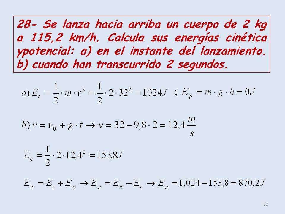 62 28- Se lanza hacia arriba un cuerpo de 2 kg a 115,2 km/h. Calcula sus energías cinética ypotencial: a) en el instante del lanzamiento. b) cuando ha