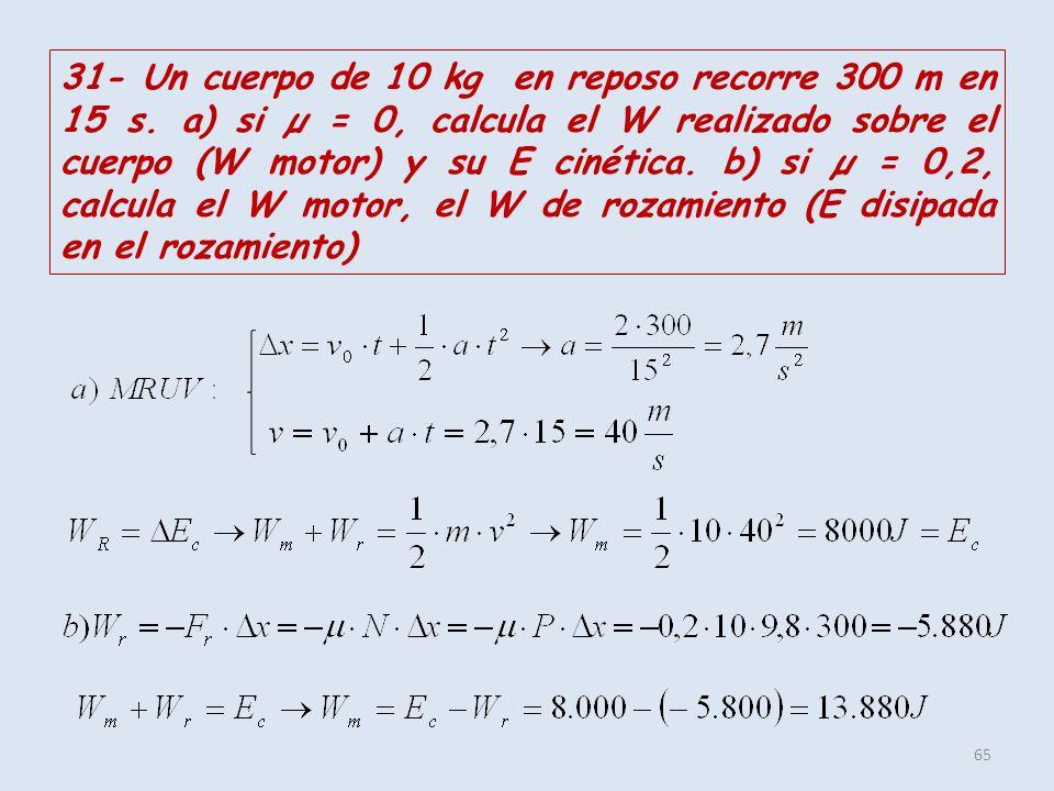 65 31- Un cuerpo de 10 kg en reposo recorre 300 m en 15 s. a) si µ = 0, calcula el W realizado sobre el cuerpo (W motor) y su E cinética. b) si µ = 0,