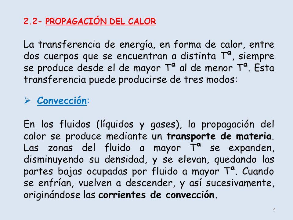 9 2.2- PROPAGACIÓN DEL CALOR La transferencia de energía, en forma de calor, entre dos cuerpos que se encuentran a distinta Tª, siempre se produce des
