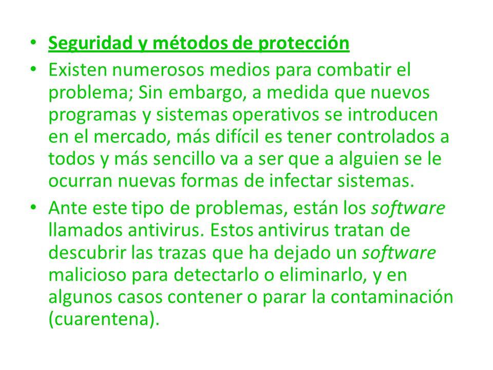 Seguridad y métodos de protección Existen numerosos medios para combatir el problema; Sin embargo, a medida que nuevos programas y sistemas operativos