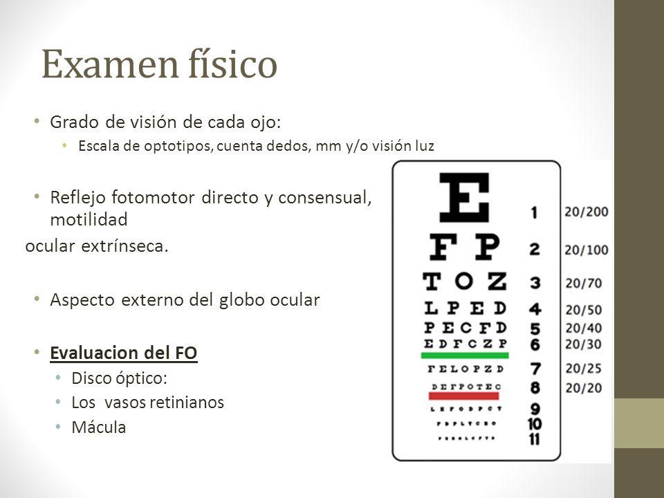 Examen físico Grado de visión de cada ojo: Escala de optotipos, cuenta dedos, mm y/o visión luz Reflejo fotomotor directo y consensual, motilidad ocul